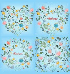 Blue watercolor floral patterns set vector