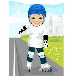 Boy skating on rollerblades on sidewalk along road vector