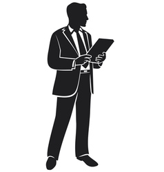 businessman holding a folder vector image vector image
