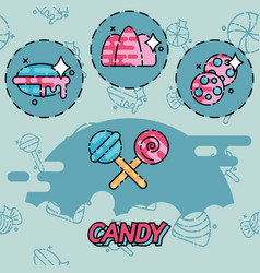 Candy flat concept icons vector