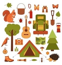 cartoon eco tourism icons camping set vector image