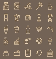 Coffee shop line color icons on brown background vector image vector image