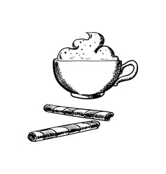 Cup of coffee with cream and wafer rolls vector image