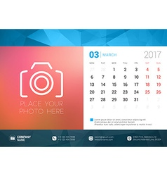 Desk calendar template for 2017 year march design vector