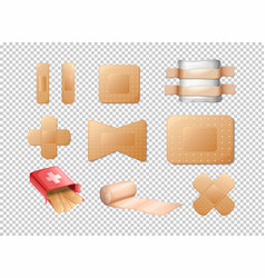 Different designs of bandages on transparent vector