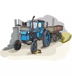 Digital painted old belarus tractor vector