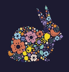 Easter design with floral bunny vector