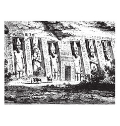 Egyptian temple architecture vintage engraving vector