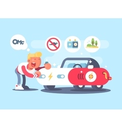 Electric car and happy owner vector