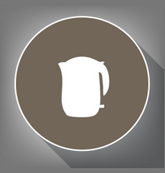 Electric kettle sign white icon on brown vector