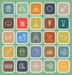 Farming line flat icons on green background vector image vector image