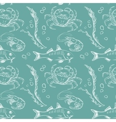 Fish crab and shrimp pattern vector