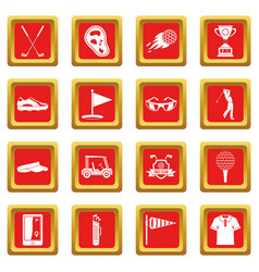 Golf items icons set red vector