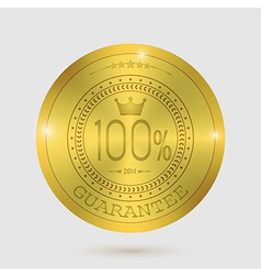 Guarantee of blank round polished gold metal badge vector