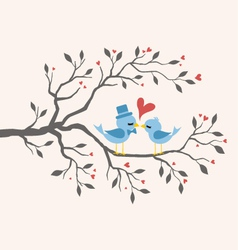 Kissing Birds in love at branch vector image vector image