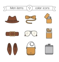 Men accessories color icons set vector