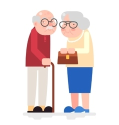 Old couple happy characters love together adult vector