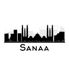 Sanaa City skyline black and white silhouette vector image vector image