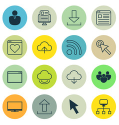 Set of 16 internet icons includes send data vector