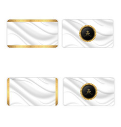 Set of four elegant silk business cards with a vector