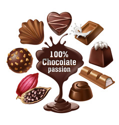 Set of icons of chocolate desserts and vector