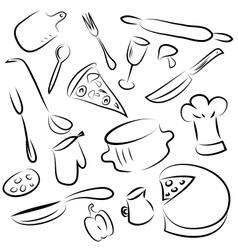 Set of kitchen elements vector