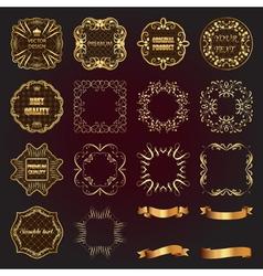 Set of vintage gold design elements-labels frames vector