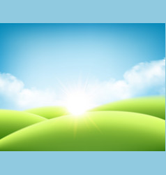 summer nature sunrise background a landscape with vector image