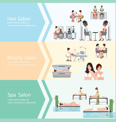 Three horizontal banners with customers in spa vector