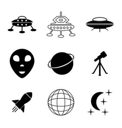 ufo and space icons set vector image vector image