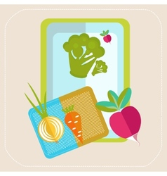 Vegetables on the table icon vector