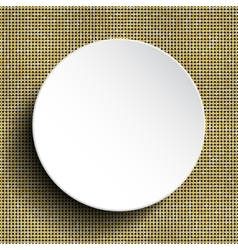 White circle button on shiny gold sequins vector
