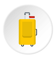 Yellow travel suitcase icon circle vector