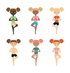 Yoga kids young girls of different nationalities vector
