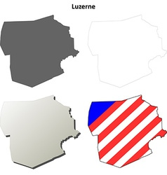 Luzerne map icon set vector