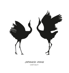 Silhouette of the two dancing Japanese crane vector image