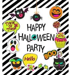 Set of stylish halloween card vector image