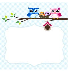 owl family at tree spring vector image