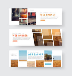 Template of web banners with rectangular blocks vector