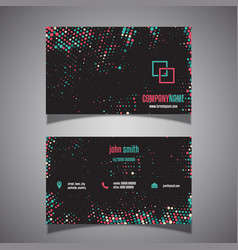 Halftone dots business card vector