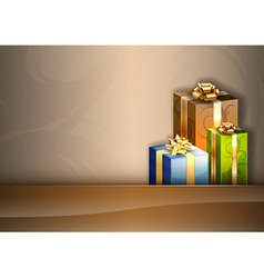 Christmas background brown stripe gifts vector