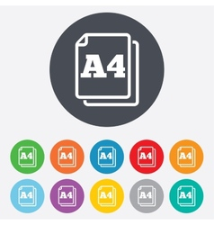 Paper size a4 standard icon document symbol vector