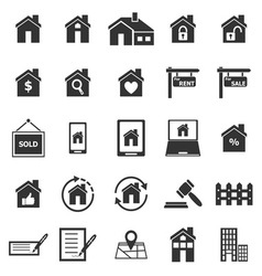 Real estate icons on white background vector