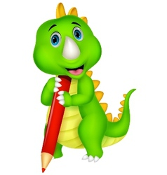 Cute dinosaur cartoon holding red pencil vector