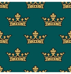 Royal seamless pattern with golden crowns vector