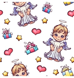 Seamless pattern with cartoon angels and gift vector