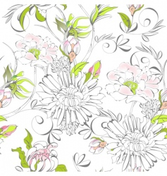 Seamless wallpaper with romantic flowers vector