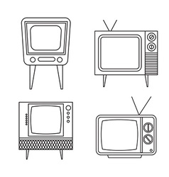 Retro tv items set on white background vector