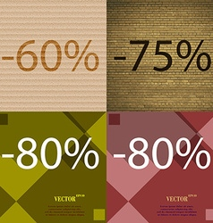 75 80 icon set of percent discount on abstract vector