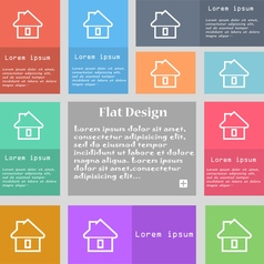 House icon sign set of multicolored buttons with vector
